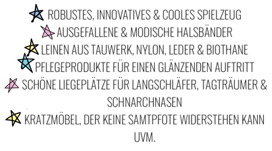 robustes innovatives cooles Hundespielzeug, ausgefallene Hundehalsbänder, Tauleinen, Lederleine, moderne Hundeleinen, Kratzmöbel, Hundeshampoo, Glanzspray für Hunde