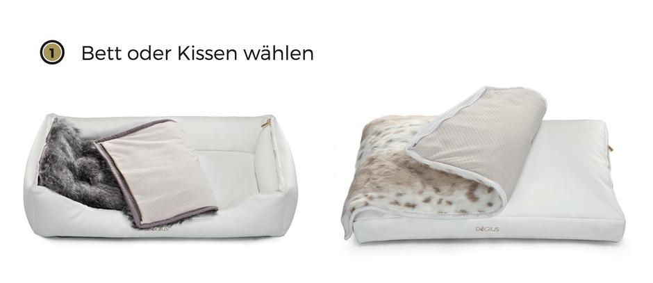 Dogius modaleres Hundeschlafplatz System Hundekissen Schneeleopard Decke Hundedecke Luxus
