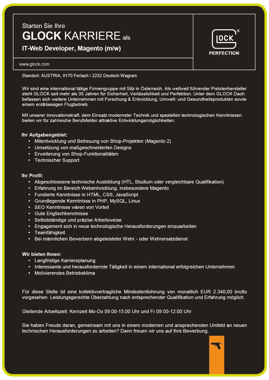 Software Developer Jobs - IT-Web Developer Magento - Glock GesmbH - 2 - Deutsch Wagram - Niederösterreich