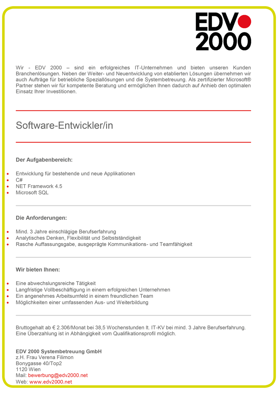 Software Developer Jobs - Softwareentwickler - EDV2000 - Wien - 1