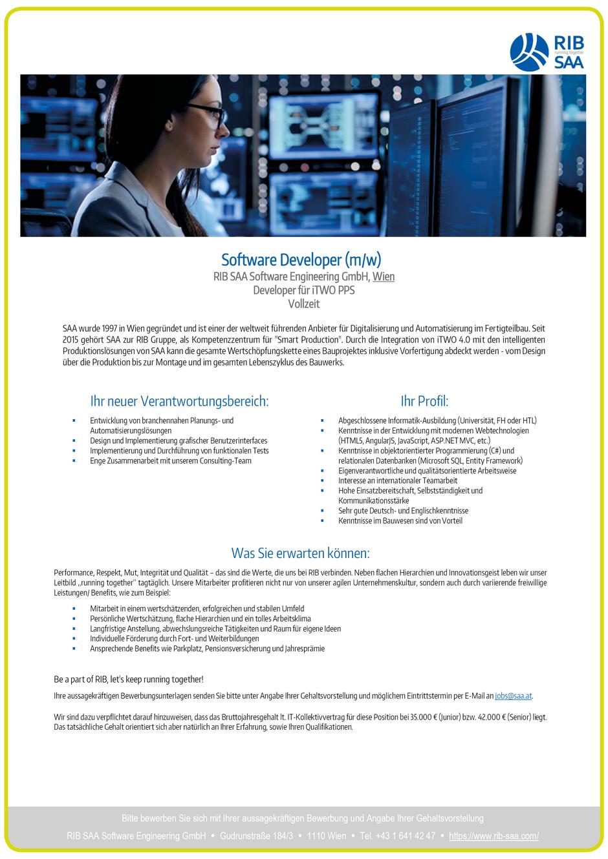 Software Developer Jobs - Software Developer - RIB SAA - Wien - 1