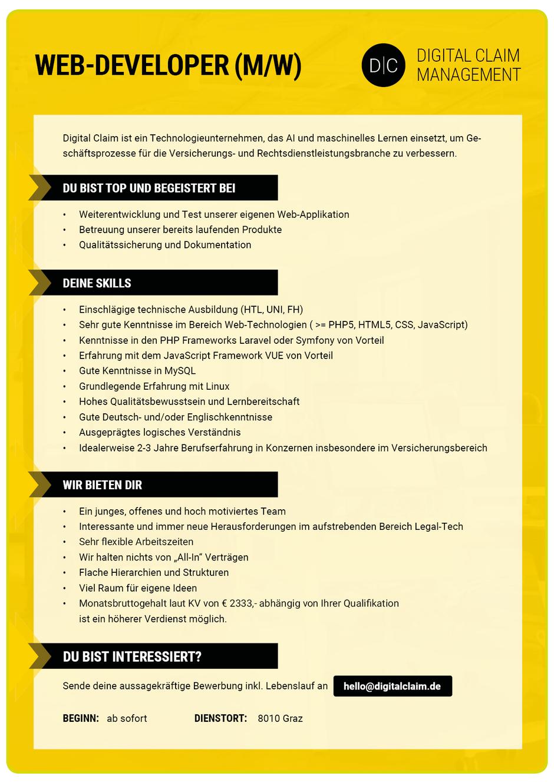 Software Developer Jobs - Web-Developer - Digital Claim Management - Graz - Steiermark