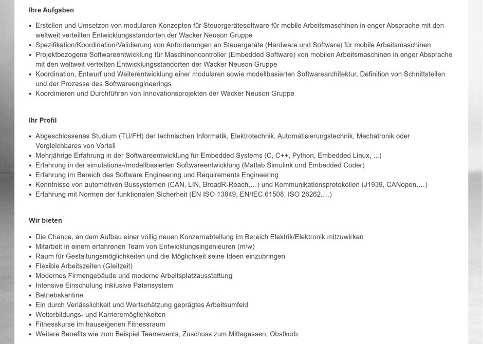 Software Developer Jobs - Senior Softwareentwickler- Wacker Neuson - Linz - Oberösterreich - 1-1