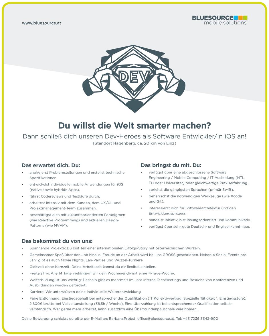 Software Developer Jobs - Softwareentwickler iOS - Bluesource Mobile - Hagenberg - Oberösterreich - 2