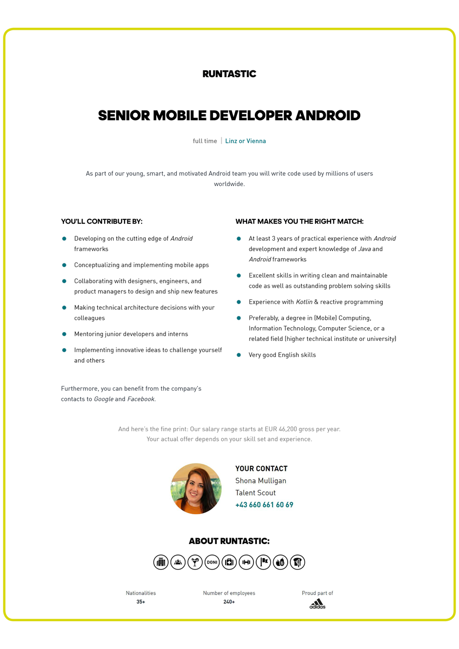 Software Developer Jobs - Senior Mobile Developer Android - Runtastic GmbH - Linz - Oberösterreich - 1