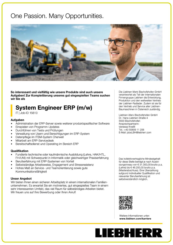 Software Developer Jobs - System Engineer ERP - Liebherr - Bischofshofen - Salzburg