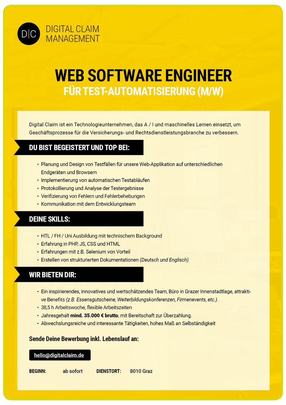 Software Developer Jobs - Web Software Engineer - Digital Claim Management - Graz - Steiermark