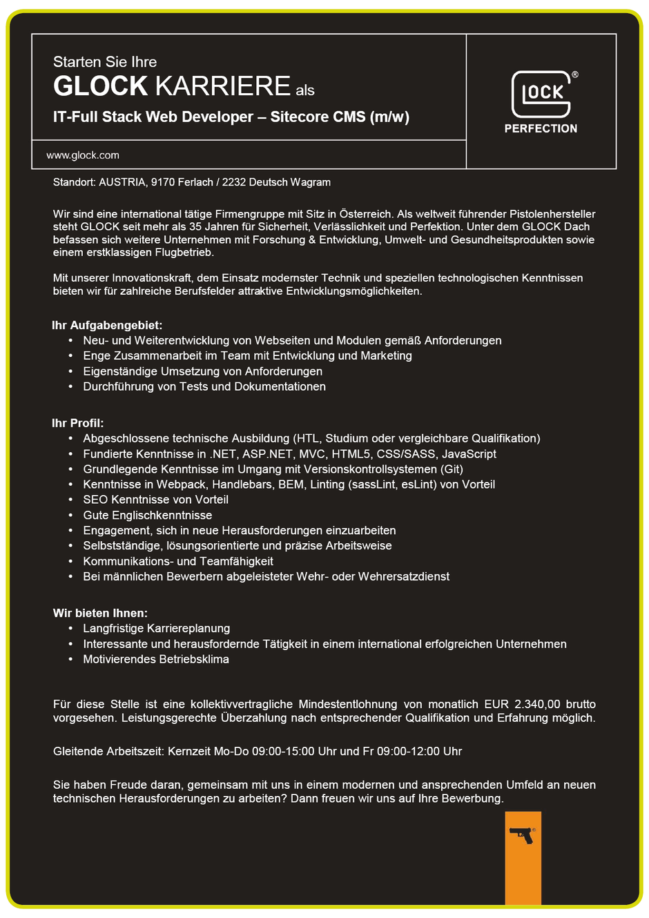 Software Developer Jobs - IT Full Stack Web Developer - Glock GesmbH - Deutsch Wagram - Ferlach