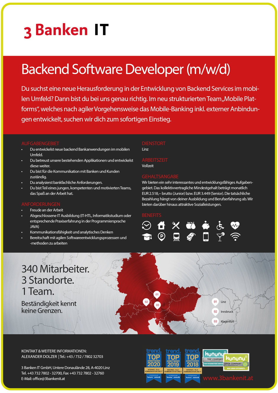 Software Developer Jobs - Backend Software Developer - 3 Banken IT GmbH - Linz - Oberösterreich - 1
