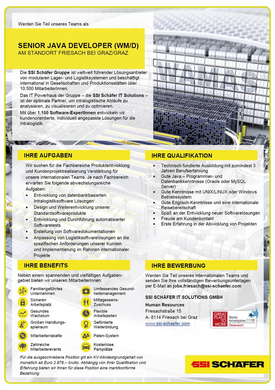 Software Developer Jobs - Senior Java Developer - SSI Schäfer IT Solutions - Graz - Steiermark