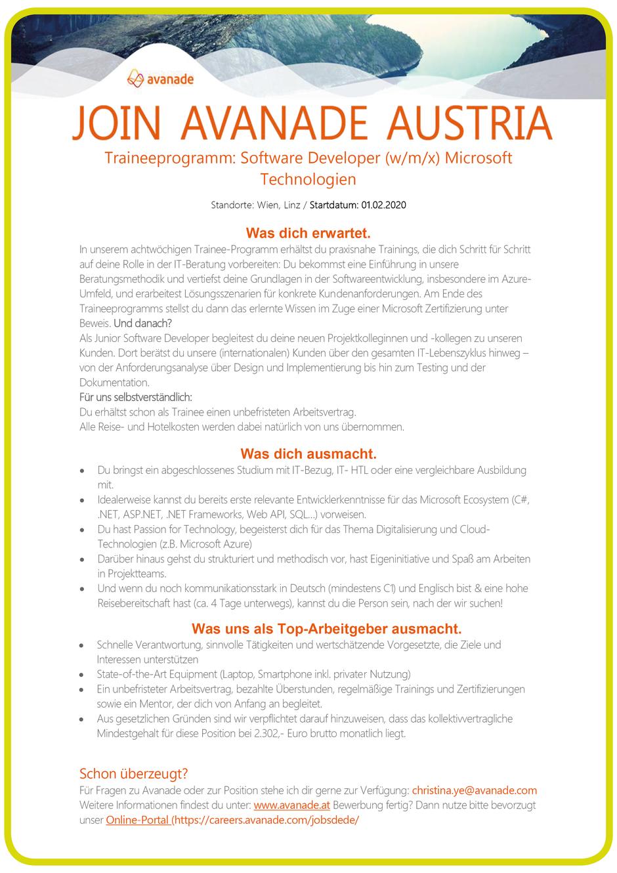 Software Developer Jobs - Trainee Software Developer - Avanade Austria - Linz - Oberösterreich - 1