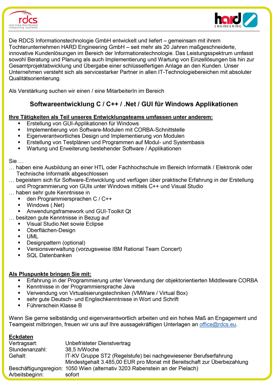Software Developer Jobs - Softwareentwickler C/C#/.NET - RDCS - Wien - 1