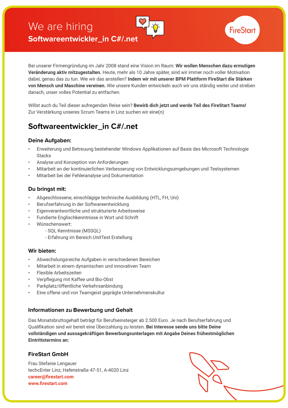 Software Developer Jobs - Softwareentwickler C#/.NET - FireStart GmbH - Linz - Oberösterreich - 1