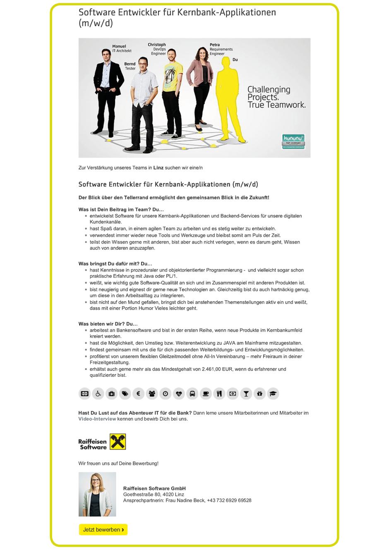 Software Developer Jobs - Softwareentwickler Kernbank Applikationen - Raiffeisen Software - Linz - Oberösterreich -2