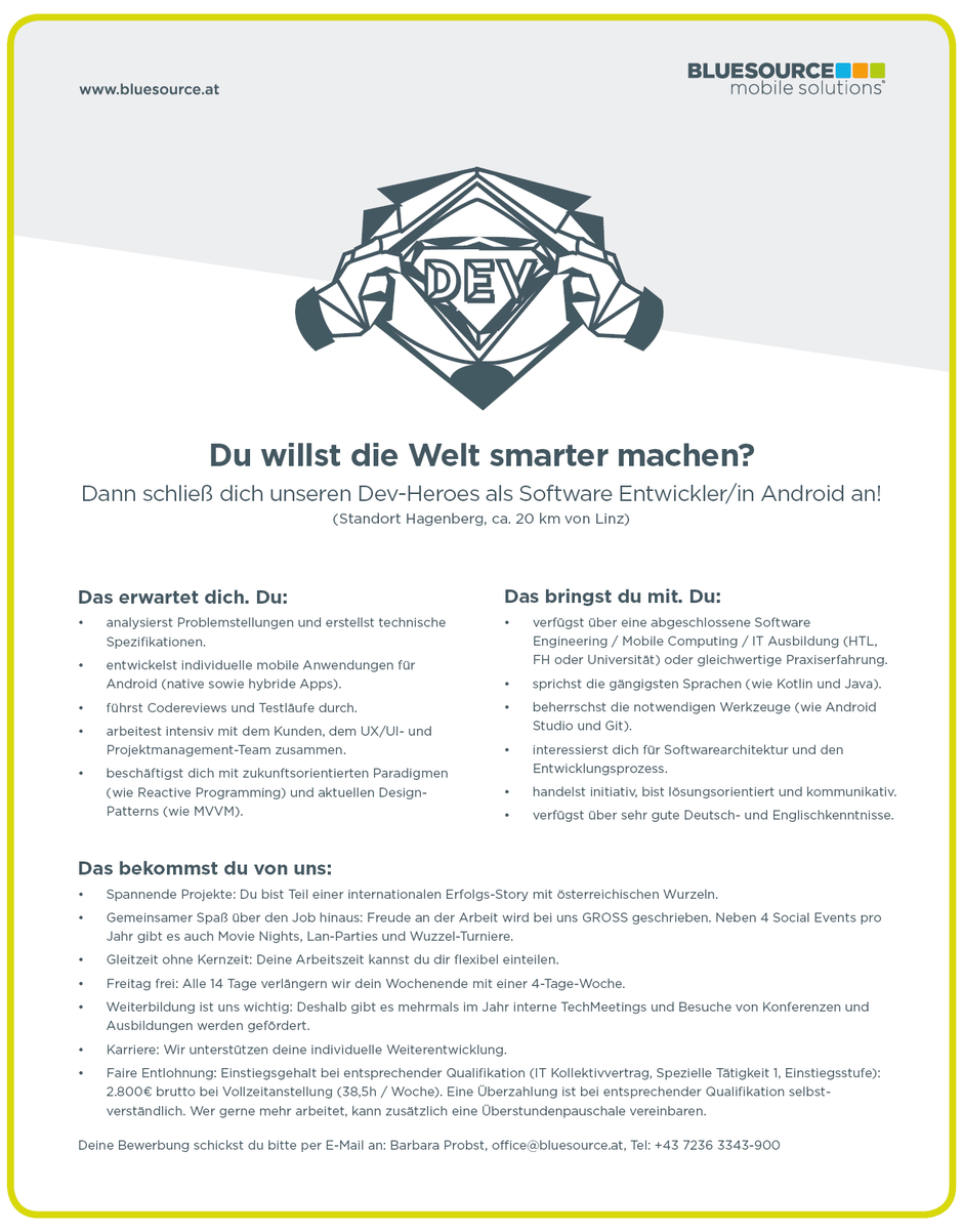 Software Developer Jobs - Softwareentwickler Android - Bluesource Mobile - Hagenberg - Oberösterreich - 1