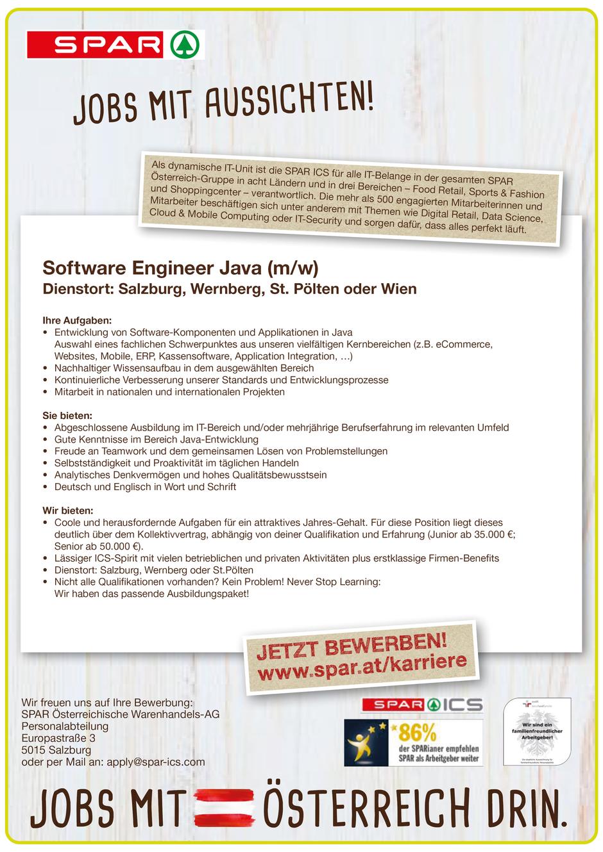 Software Developer Jobs - Software Engineer Java - Spar - St. Pölten - Niederösterreich - 1