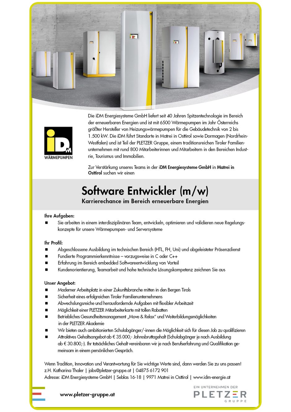 Software Developer Jobs - Softwareentwickler - IDM Energiesysteme - Matrei in Osttirol -1