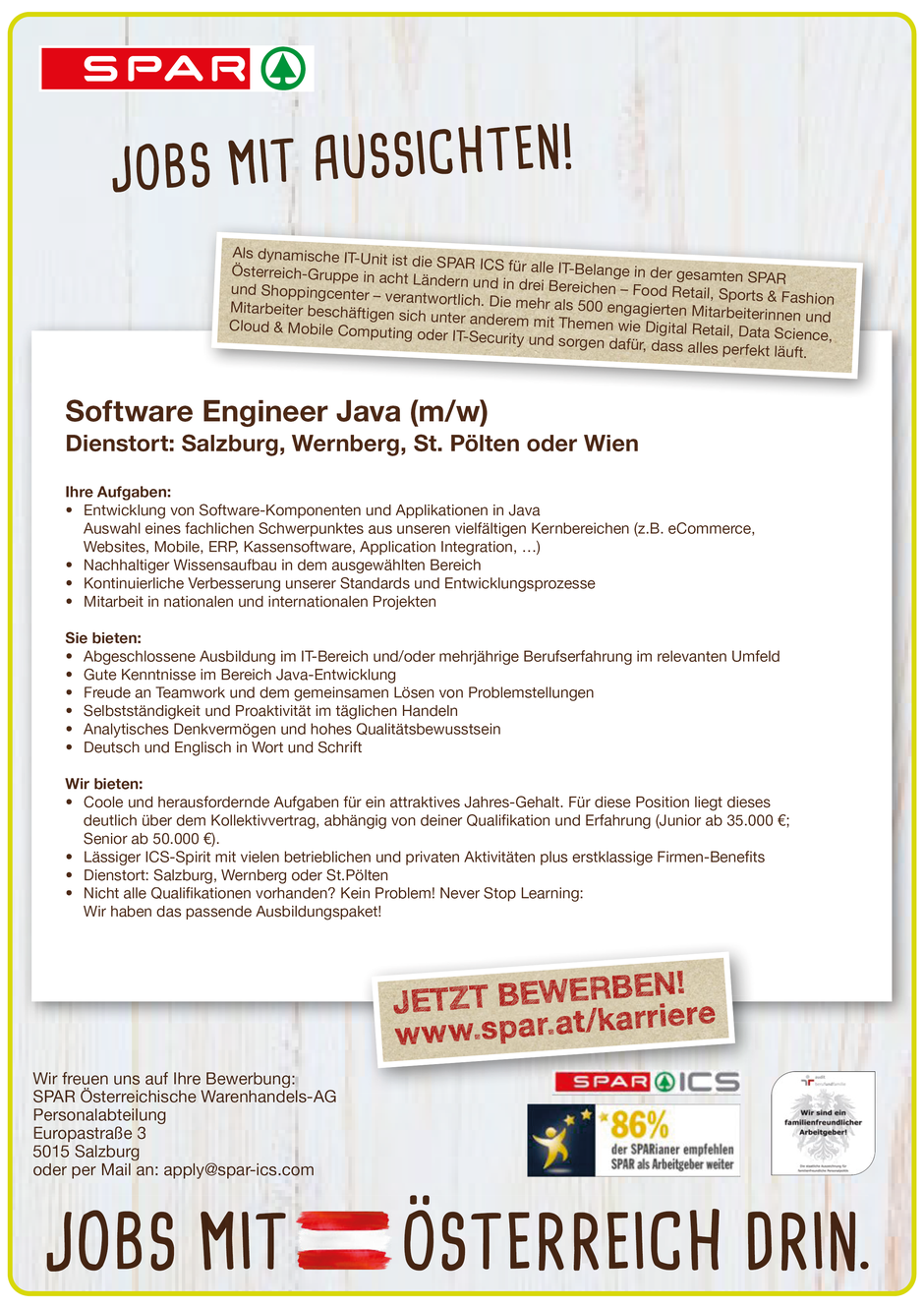 Software Developer Jobs - Software Engineer Java - Spar - Wien - 1