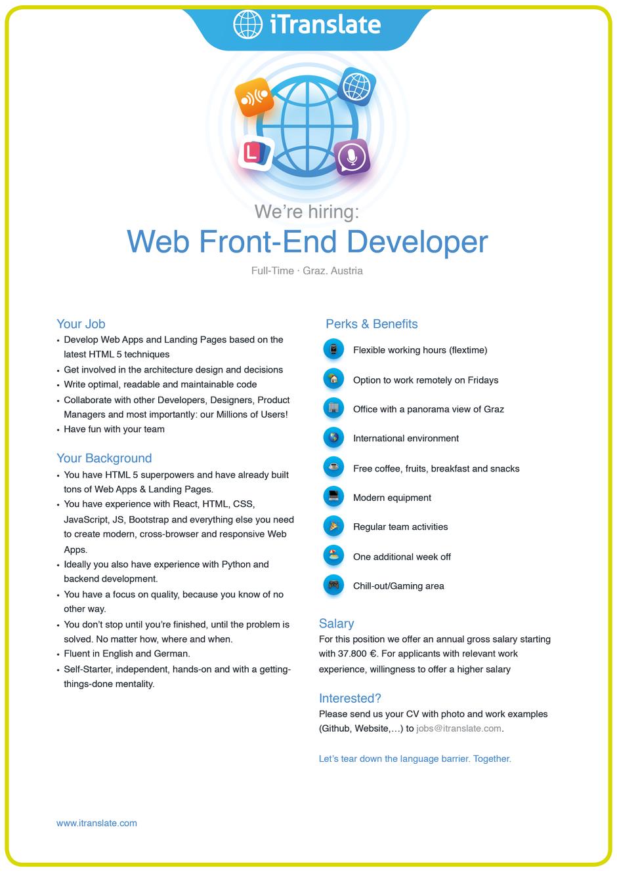 Software Developer Jobs - Web Front-End Developer - iTranslate - Graz - Steiermark