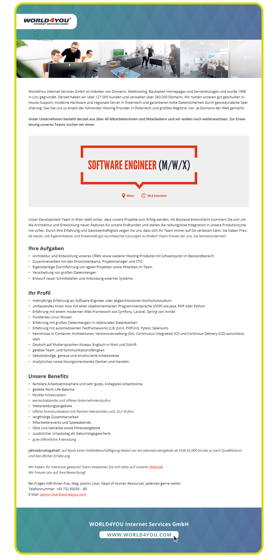 Software Developer Jobs - Software Engineer - World4You Internet Services GmbH - Wien - 1