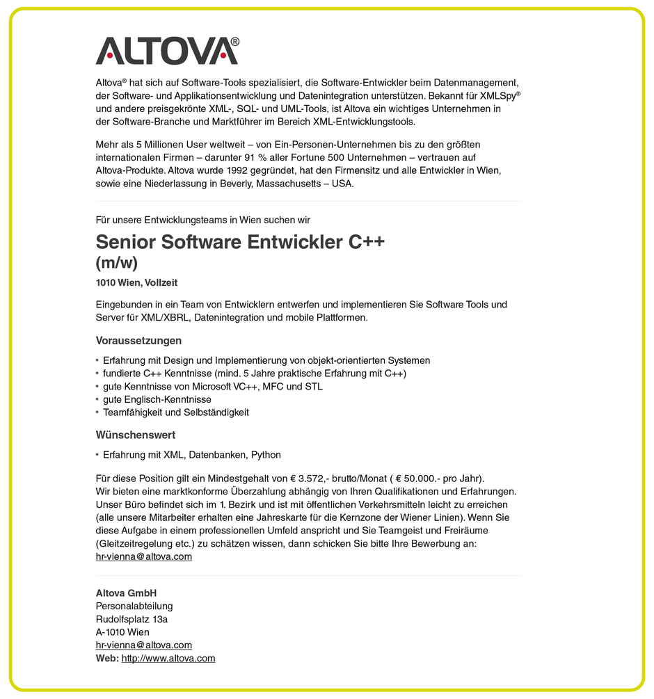Software Developer Jobs - Senior Software Entwickler C++ - Altova GmbH - Wien - 1