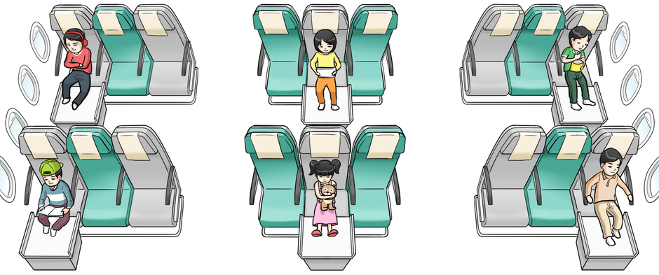 Singapore Airlines Convertable Cushion Seating Diagram