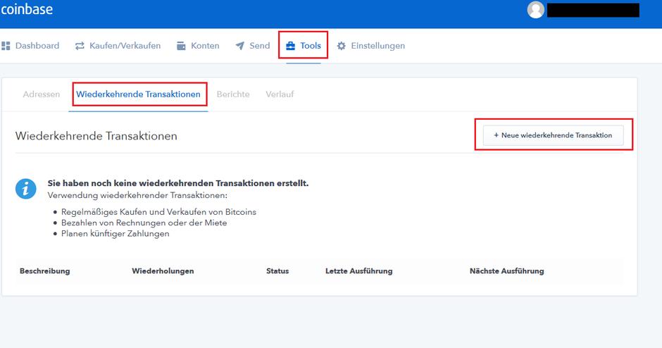 Bitcoin Sparplan bei Coinbase einrichten