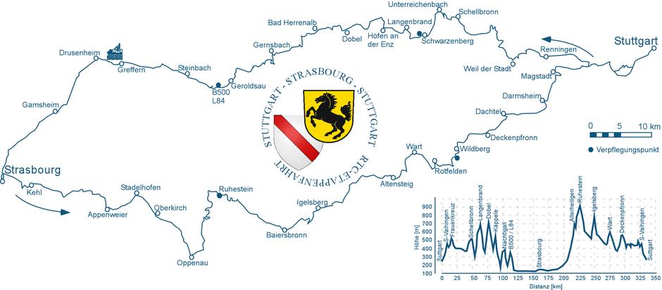 Streckenführung Stuttgart - Strasbourg - Stuttgart 2019