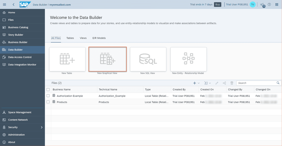 SAP Data Warehouse Cloud Create new graphical view
