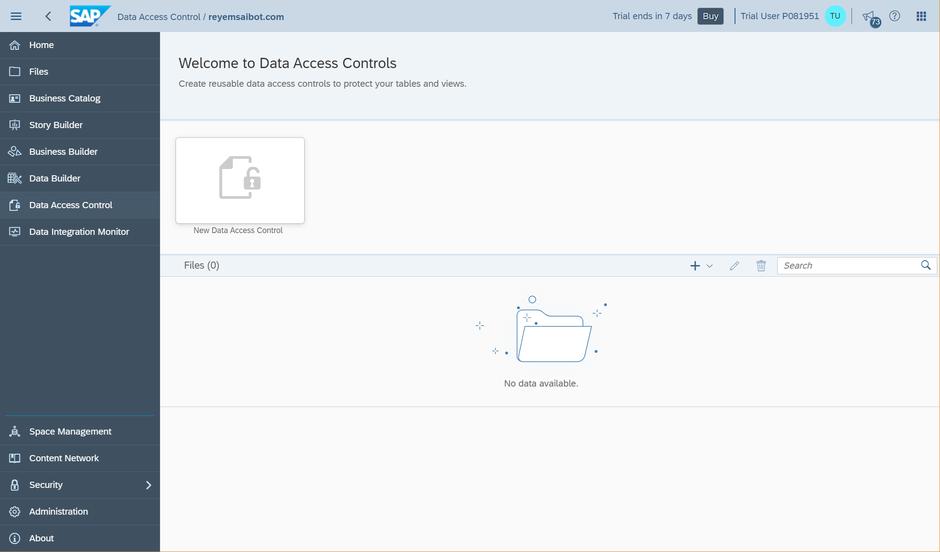 SAP Data Warehouse Cloud Create Data Access Control