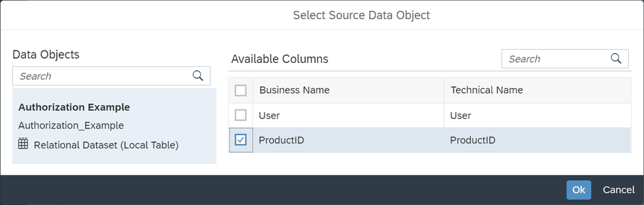 SAP Data Warehouse Cloud Select authorization table