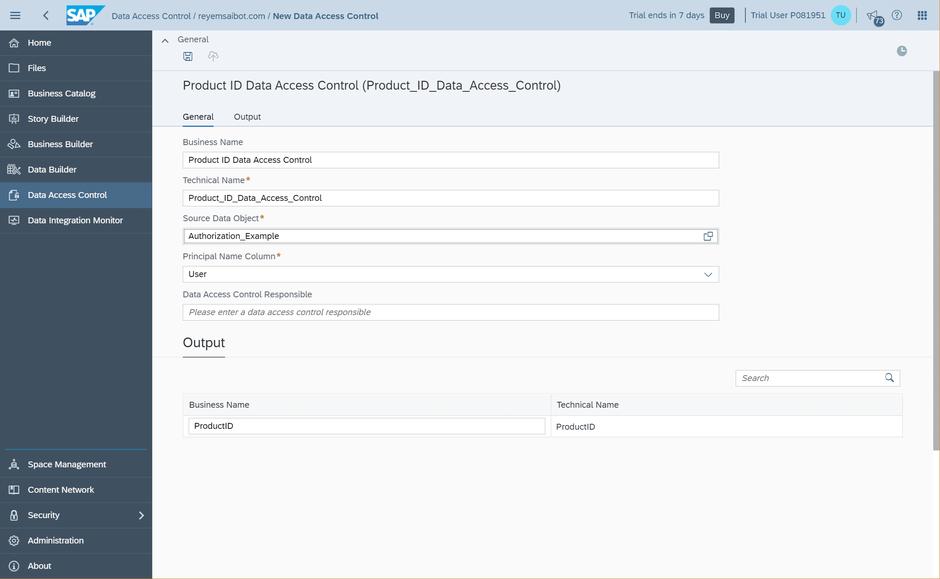 SAP Data Warehouse Cloud Define Data Access Control