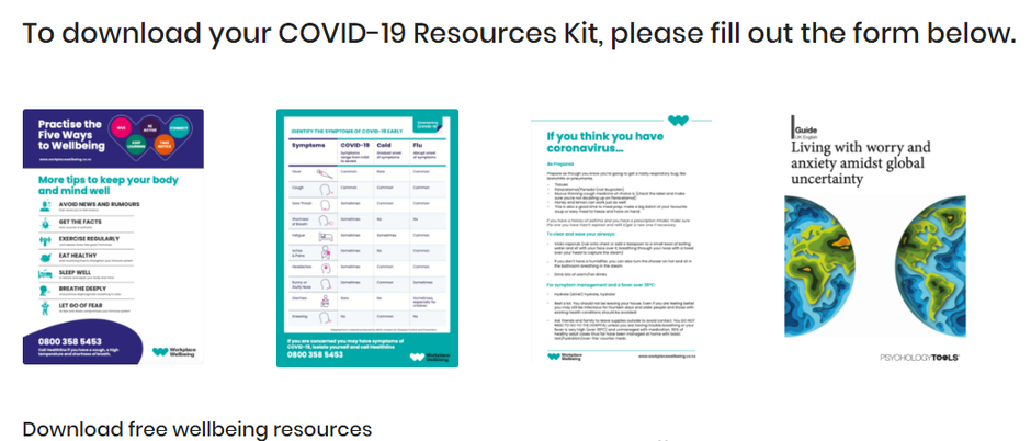 Screenshot: Covid-19 resources and tool kit offered by Workplace Wellbeing