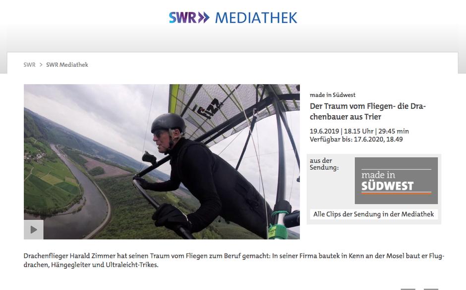 SWR Dokumentation bautek der traum vom fliegen drachenbauer drachenfliegen hanggliding deltaplane producer germany hersteller