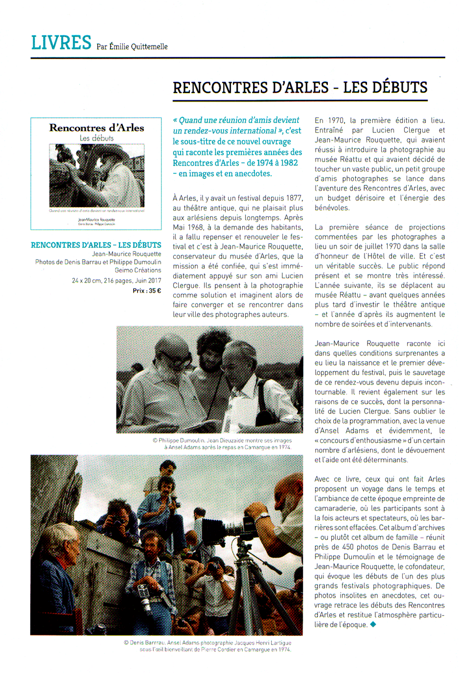 les debuts des rencontres d arles publie dans la revue profession photographe