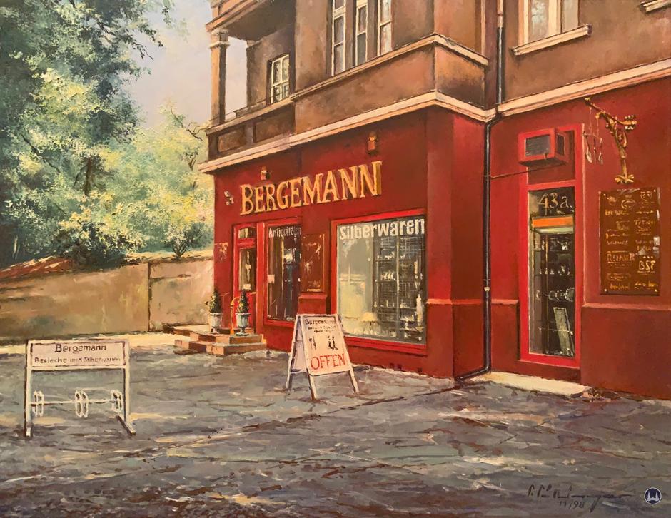 Bergemann Silberwaren in Lichterfelde West, Drakestraße. Gemälde von 1998
