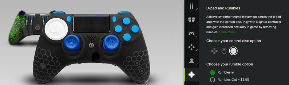 プロのゲーマーと連携し設計したRevolution Pro Controllerは、コントローラの背面に4つのボタンを備えています。