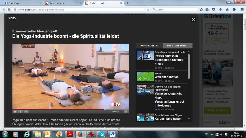n-tv Dreh im MahaShakti Yoga Studio mit Veronika Rössl