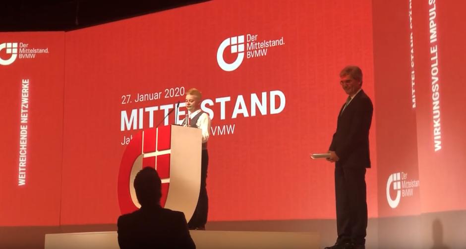 Kann seine Rede nicht beginnen: Siemens-Chef Kaeser beim Mittelstandskongress in Berlin