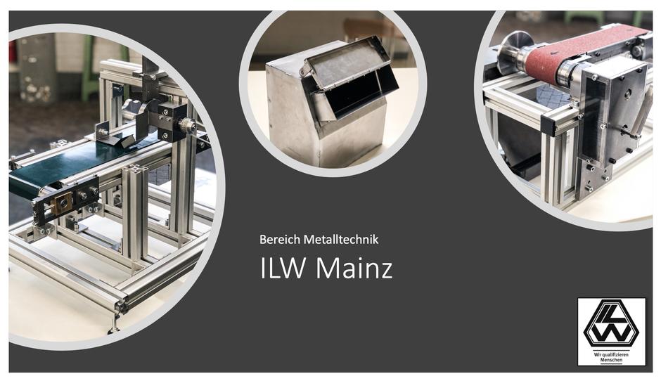 (von links:) Modell eines Transportbandes mit Sortieranlage (Industriemechaniker Maschinen- und Anlagenbau), Auffangbehälter (Konstruktionsmechaniker Feinblechbau), und Modell eines Bandschleifers (Industriemechaniker Instandhaltung) (Foto: Ulf Mehmel)