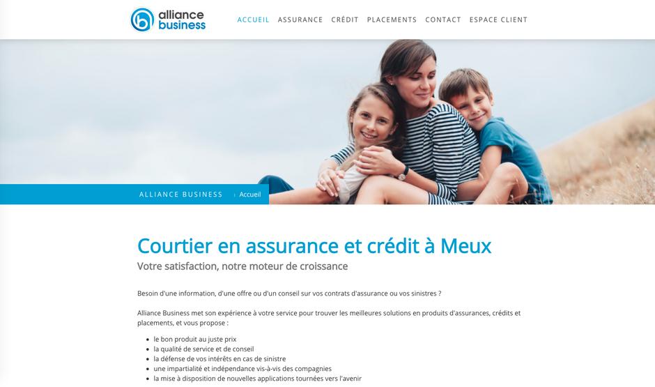 Le nouveau site d'Alliance Business créé dans Jimdo (design Rome)