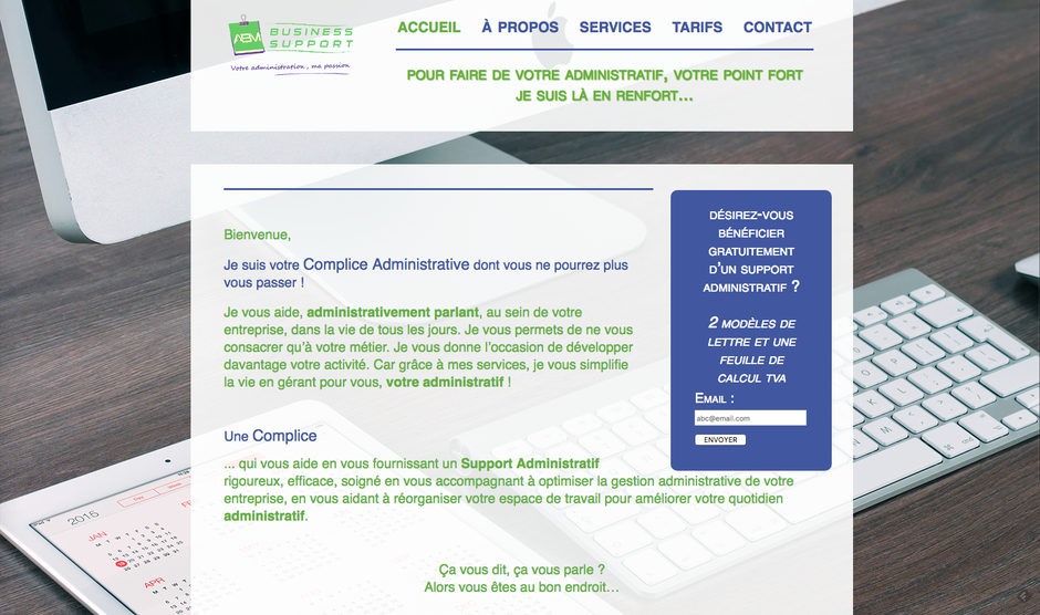 L'ancien site d'ABM Business Support en HTML