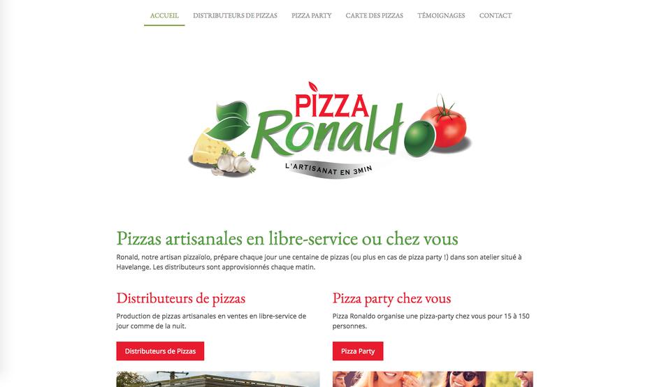 Le nouveau site de Pizza Ronaldo créé avec Jimdo (design Miami)