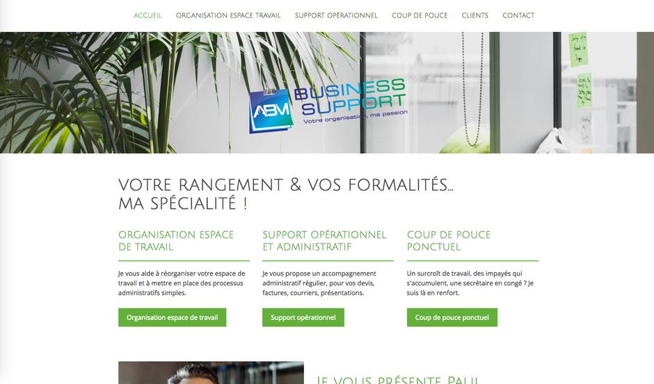 Le site d'ABM Business Support dans sa version finale (nouveau logo, nouveau slogan, nouveaux visuels)
