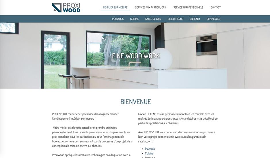Le site Proxiwood dans Jimdo