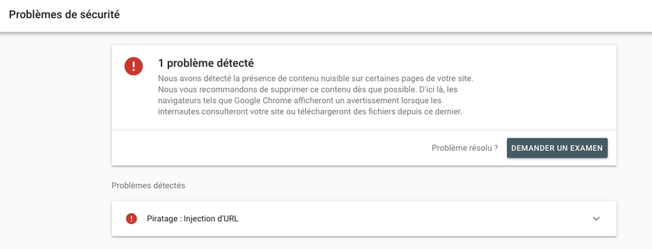 Message reçu dans la Search Console de Google