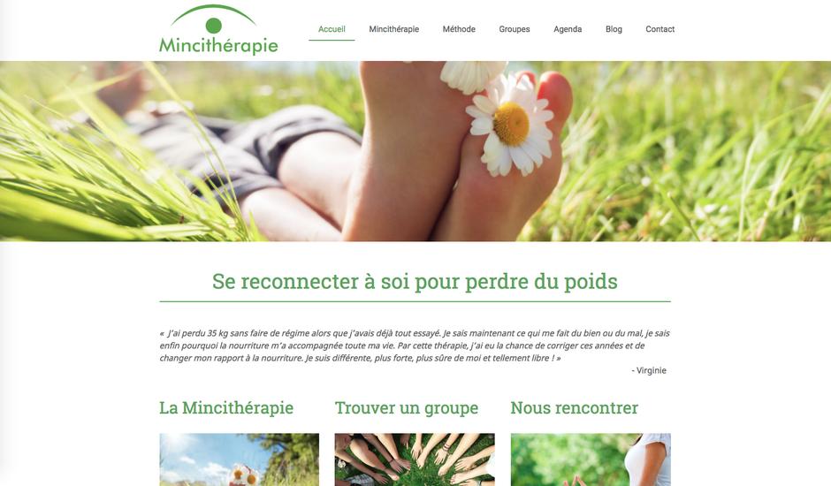 Le nouveau site Mincithérapie, créé avec Jimdo (design Tokyo)