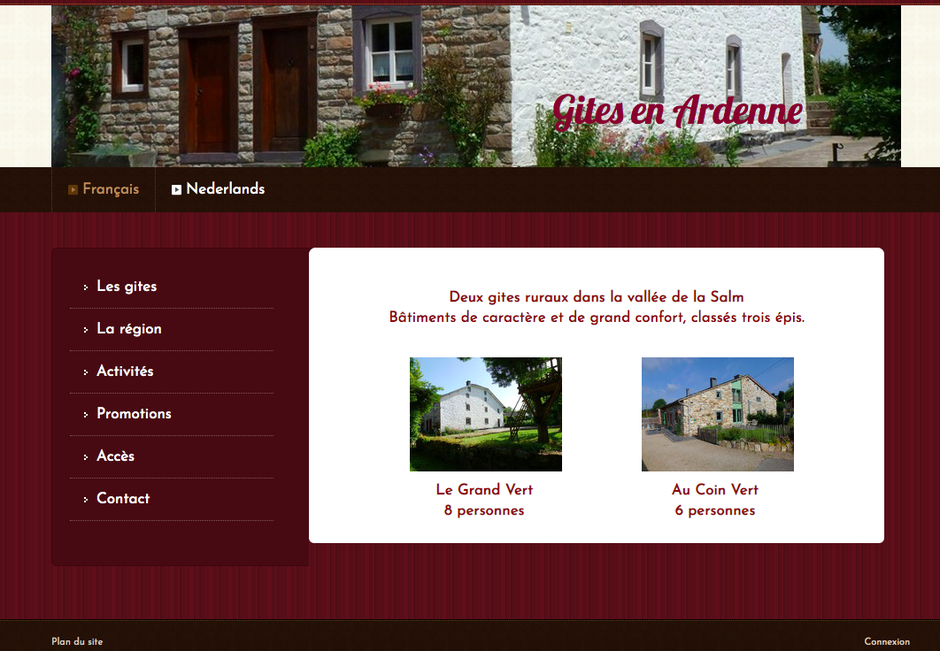 L'ancien site de Gîtes en Ardenne (ancien design de Jimdo)