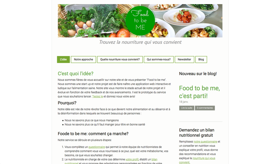 L'ancien site de Food to be Me