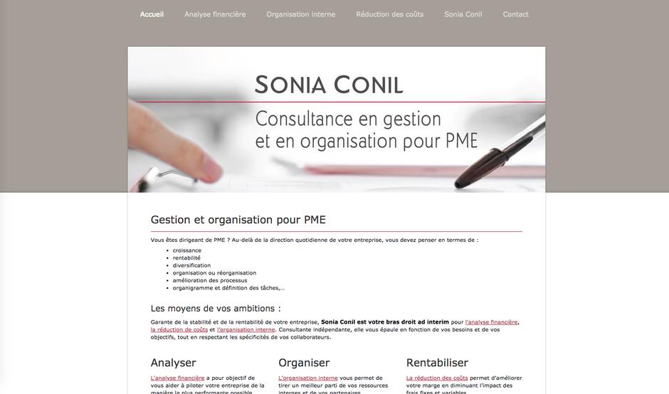 Le site de Sonia créé en 2014 dans Jimdo